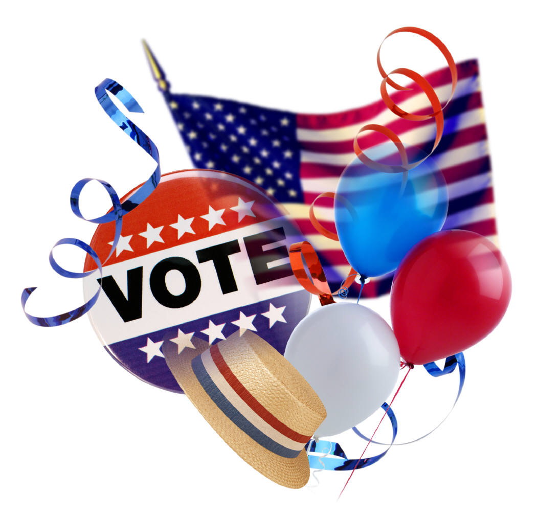 vote button and American flag